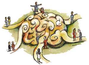 Picture of Brain with Many People's Input